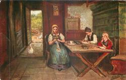 SCHULARBEIT  mother sits knitting at table, two children do homework, open door back left