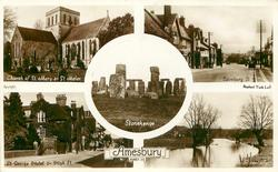 5 insets CHURCH OF ST. MARY & ST. MELOR/SALISBURY ST./STONEHENGE/ST. GEORGE HOTEL & HIGH ST./RIVER AVON