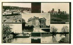 5 insets GENERAL VIEW/STONEHENGE/AMESBURY ABBEY/QUEENSBERRY BRIDGE./RIVER AVON