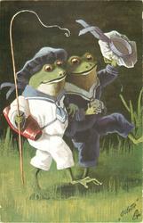 AUF IN DIE FERIEN  two dressed frogs walk right