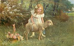 girl in white dress, red belt, stands behind sigle lamb