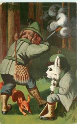 ES WAR SO SCHON GEWESEN!  two dressed dogs hunting with guns, one shoots as squirrel runs between his legs