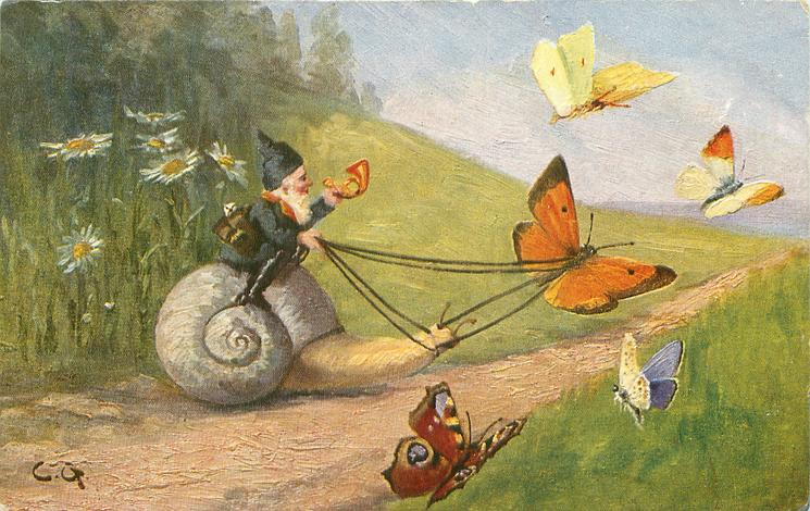 dwarf rides snail harnessed to butterfly, four other butterflies