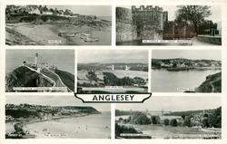 7 insets  MOELFRE/THE CASTLE AND MOAT, BEAUMARIS/SOUTH STACK LIGHTHOUSE, HOLYHEAD/MENAI BRIDGGE FROM LLAN//CAEMES BAY/THE BEACH BENLLECH/THE TUBULAR BRIDGE FROM LLAN//AND CHURCH ISLAND
