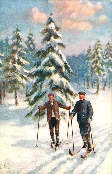 OVER SOFT SNOW (two skiers)