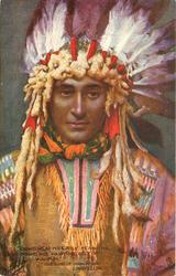 """ON HIS HEAD HIS EAGLE FEATHERS, ROUND HIS WAIST HIS BELT OF WAMPUM"""