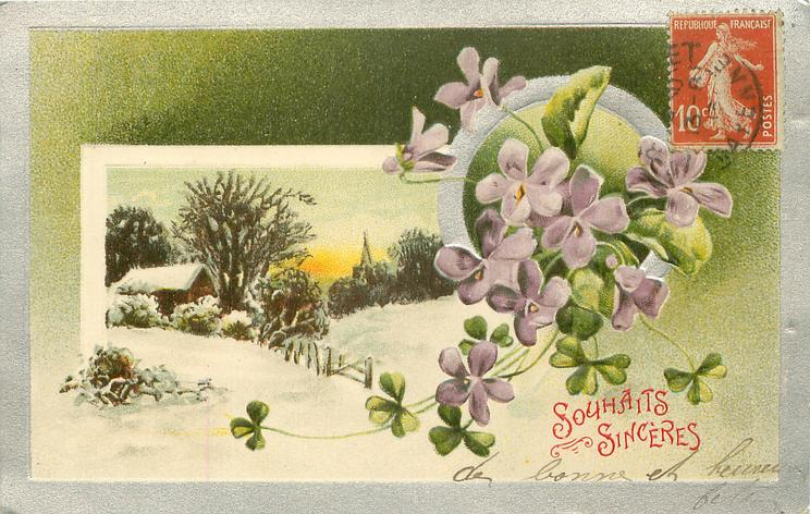 two insets in silver borders, violets, right, superimposed on rural winter scene