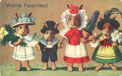 line up of four dressed rabbits, three carrying flowers, youngest in sailor suit