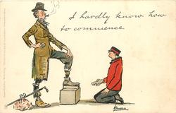 I HARDLY KNOW HOW TO COMMENCE  bootblack appalled at having to clean tramp's shoes,
