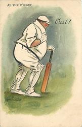 OUT!  obese batsman walks away