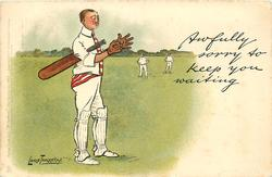 AWFULLY SORRY TO KEEP YOU WAITING  batsman puts on his gloves