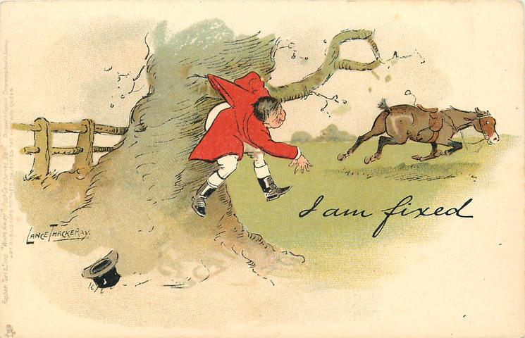 I AM FIXED  huntsman caught up on branch while fox-hunting