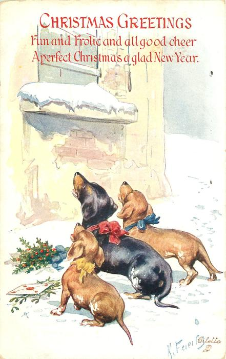 CHRISTMAS GREETINGS  three dachshunds in snow face away look up with open mouths