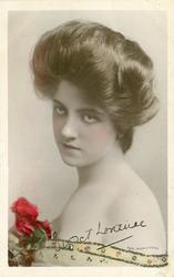VIOLET LORRAINE printed autograph serves as card title-