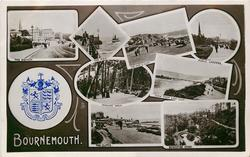 embossed crest, 8 insets THE SQUARE/THE PIER/THE PIER & CLIFF/PUBLIC GARDES/INVALID'S WALK/VIEW FROM EAST CLIFF/THE CLIFFS/BOSCOMBE CHINE