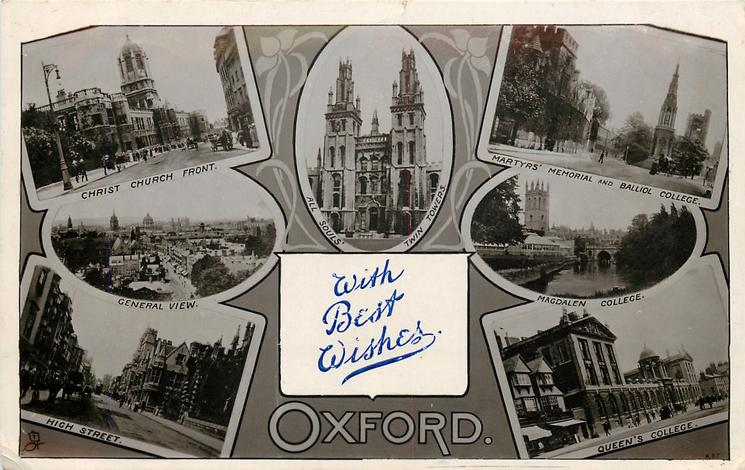 embossed crest, 7 insets CHRIST CHURCH FRONT/ALL SOULS TWIN TOWERS/MARTYRS' MEMORIAL AND BALLIOL COLLEGE/GENERAL VIEW/MAGDALEN COLLEGE/HIGH STREET/QUEEN'S COLLEGE