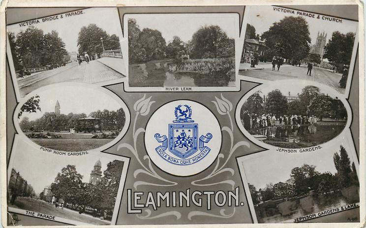 embossed crest, 7 insets VICTORIA BRIDGE AND PARADE/RIVER LEAM/VICTORIA PARADE & CHURCH/PUMP ROOM GARDENS/JEPHSON GARDENS/THE PARADE/JEPHSON GARDENS & LAKE