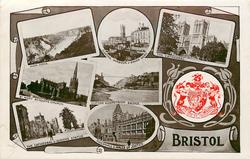 embossed crest, 7 insets AVON GORGE/FLOATING HARBOUR & BROAD QUAY/THE CATHEDRAL/ST. MARY REDCLIFFE CHURCH/CLIFTON SUSPENSION BRIDGE/THE CATHEDRAL & QUEEN'S STATUE/GUILDHALL & HALLS OF JUSTICE