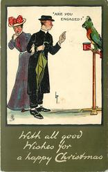 "WITH ALL GOOD WISHES FOR A HAPPY CHRISTMAS, ""ARE YOU ENGAGED?""  parrot talks to embarassed clergyman &  lady,"