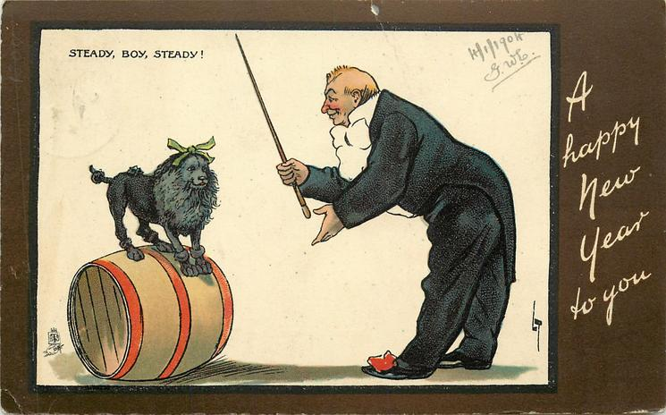 STEADY, BOY, STEADY!  clown instructs circus poodle on barrel
