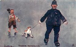 amused boy follows policeman dragging unhappy dog