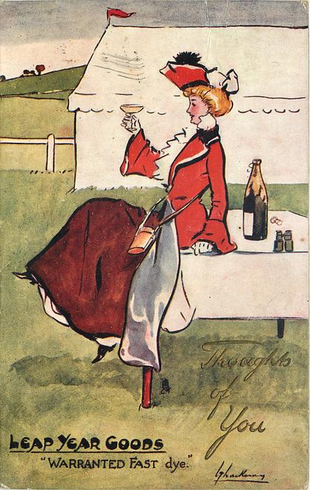 """""""WARRANTED FAST DYE""""  fashionably dressed girl sits on table drinking champagne"""