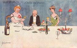 "A ""TWO TO ONE"" CHANCE  elderly man sits at table after dinner between two unattractive women"