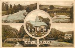 5 insets  RIVER & WEIR/BRIDGE & RIVER/THE ABBEY CHURCH/THE GLEN/RIVER & SAW-MILL