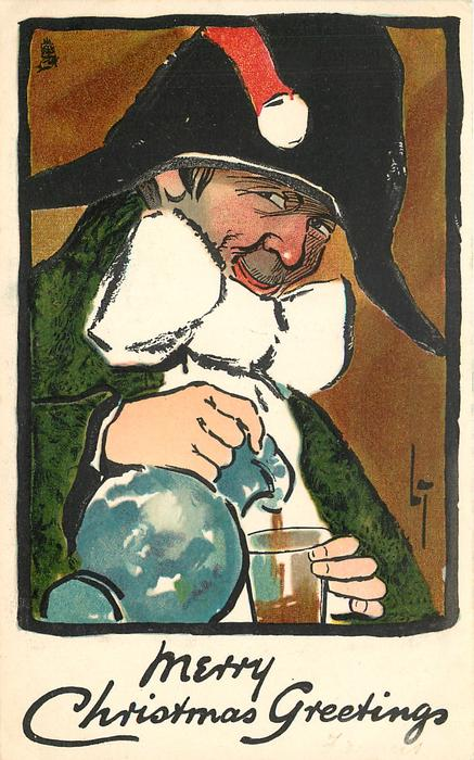 MERRY CHRISTMAS GREETINGS  man filling glass from bluish jug