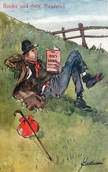 THE DAYS WORK RUDYARD KIPLING  tramp lies on grassy bank reading