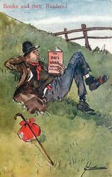 THE DAYS WORK RUDYARD KIPLING  tramp lies on grassy bank reading