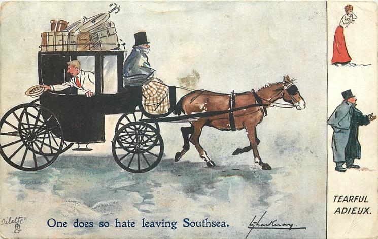 TEARFUL ADIEU  young man waves good-by as he sets off  in a hansom cab with much luggage