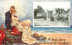 inset BATTLE ABBEY NEAR HASTINGS  couple sit close on rocks, she wears a white dress with red hat & parasol, looks right