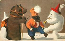 snow clown dances whilst playing trumpet, toy monkey also dances, toy bear & toy dog observe