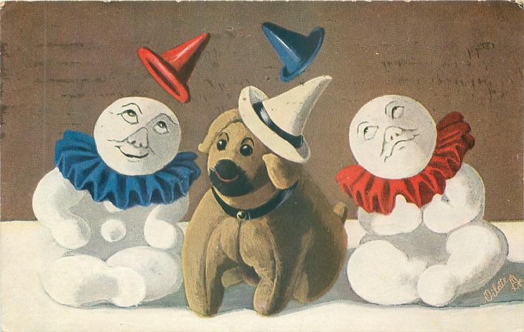 two snow clowns, one on either side of toy dog