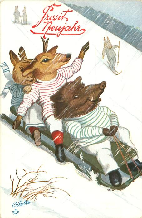 boar, deer, rabbit toboggan down hill