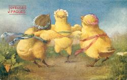 three dressed chicks touch wings & dance in circle