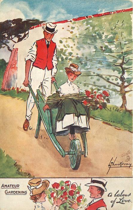 A LABOUR OF LOVE  man pushes wheelbarrow containing pretty girl with flowers in her lap