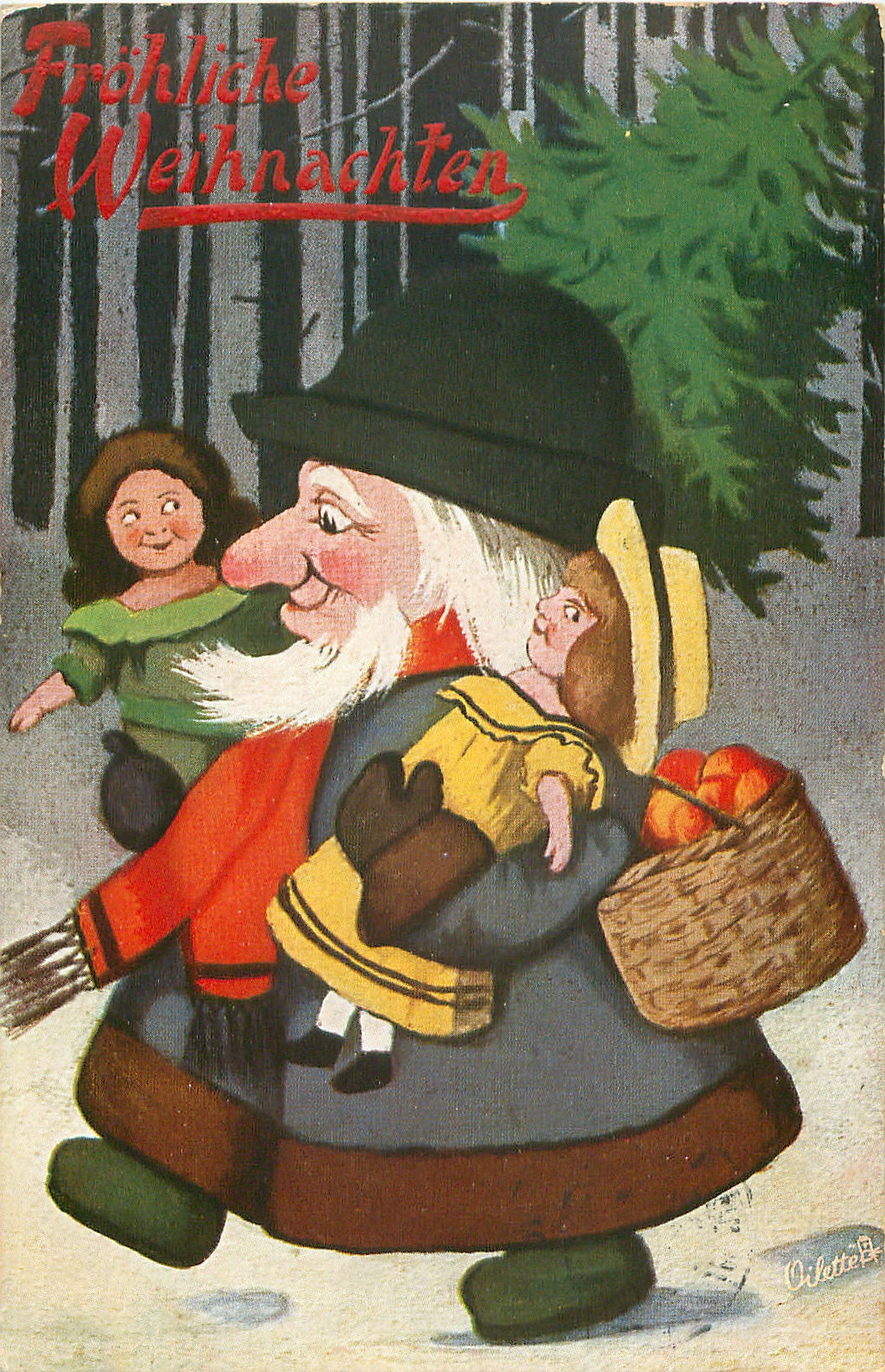Santa in brown coat strides left with doll under each arm & and basket of apples
