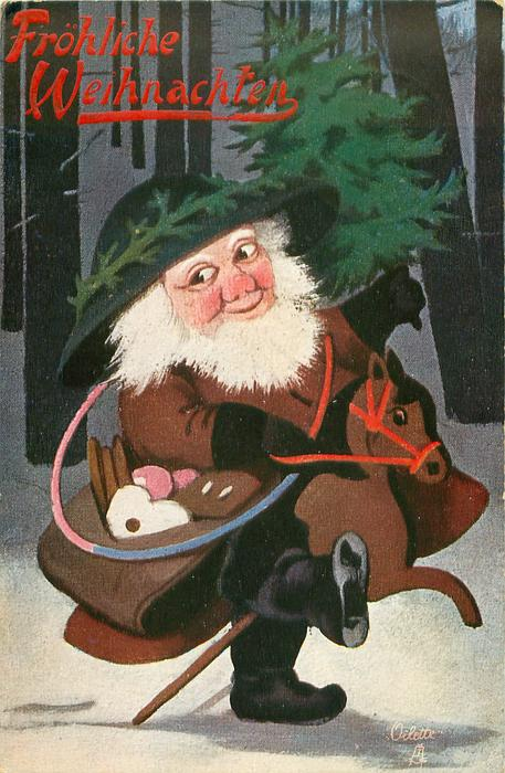Santa in brown cloak rides hobby-horse right in woods carrying sachel of cookies & tree