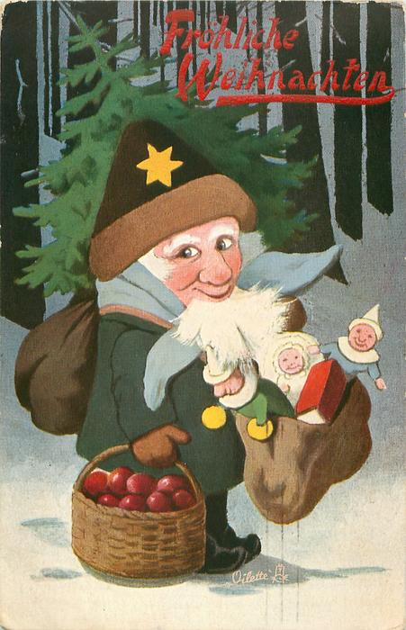 Santa wearing green coat in woods facing right looking front with bag of toys and basket of apples