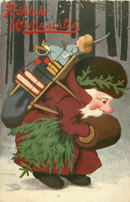 Santa in brown coat walks right in woods carrying heavy load of toys on his back, tree under his arm