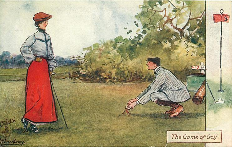 THE GAME OF GOLF  young man constructs a tall tee for pretty girl,