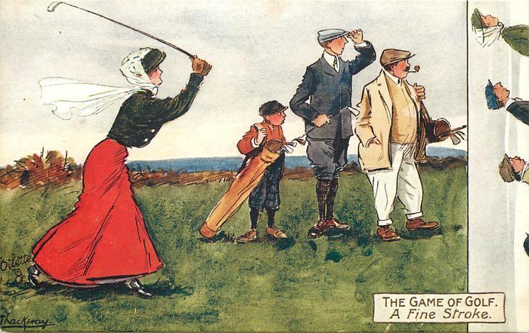 A FINE STROKE  lady golfer astonishes male onlookers