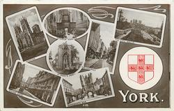 embossed crest, 7 insets MINSTER/INTERIOR MINSTER/CITY WALLS/ST. MARY'S ABBEY/THE SHAMBLES/STONE GATE/MICKLEGATE BAR