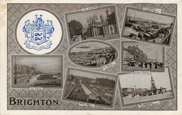 embossed crest, 7 insets THE PAVILION/FISH MARKET ON THE BEACH/THE BEACH AND WEST PIER/KING'S PARADE/THE PARADE/WEST PIER AND FRONT/THE AQUARIUM AND MARINE DRIVE