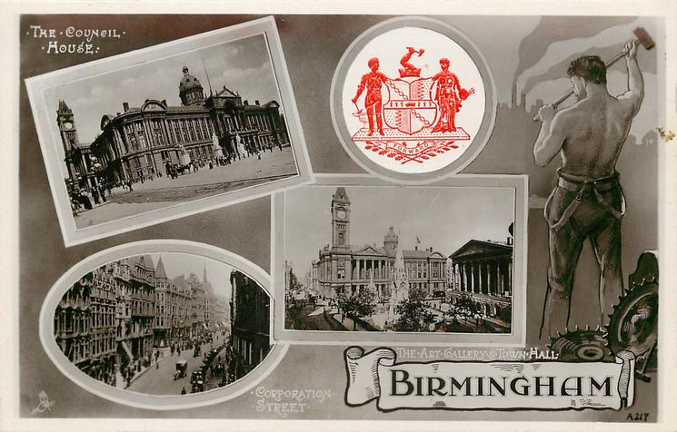 embossed crest in blue or red, workman with sledge-hammer, 3 insets THE COUNCIL HOUSE/THE ART GALLERY & TOWN HALL/CORPORATION STREET