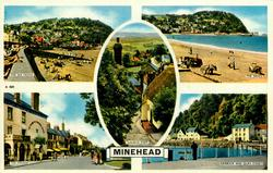 MINEHEAD 5 insets THE SEA FRONT/THE SANDS/CHURCH STEPS/THE PARADE/HARBOUR AND QUAY STREET