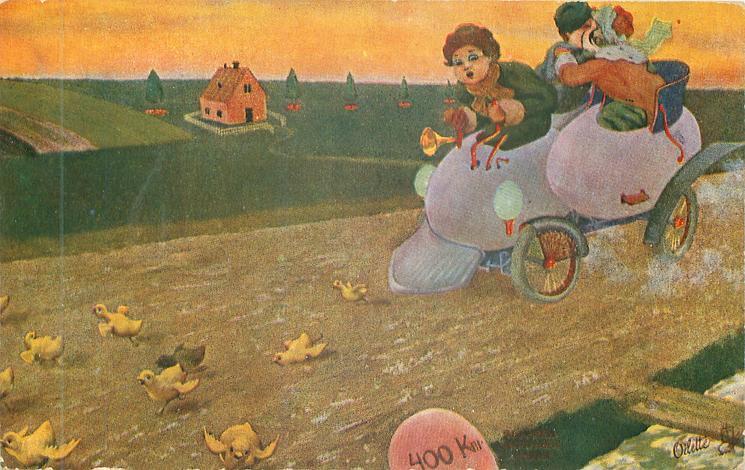 boy drives eggmobile left, boy & girl embrace behind, chicks scatter in front