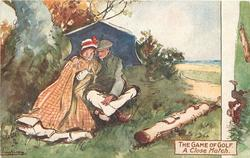 A CLOSE MATCH couple cuddle under umbrella  instead of playing golf